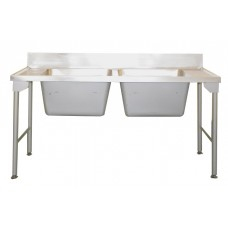 Caterlogic Double Pot Sink 1650mm with splash back - CDP1700